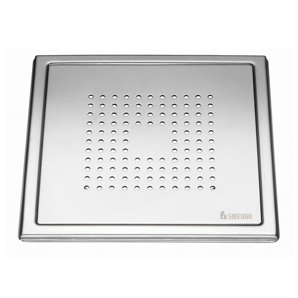 Smedbo Outline Square Pattern Floor Grating - Polished Stainless Steel - FK502 Large Image