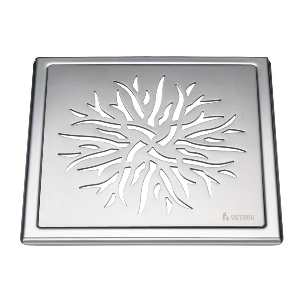 Smedbo Outline Crown Pattern Floor Grating - Polished Stainless Steel - FK504 profile large image view 1