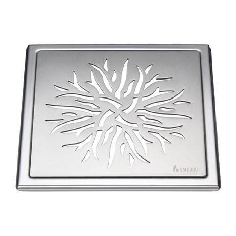 Smedbo Outline Crown Pattern Floor Grating - Polished Stainless Steel - FK504