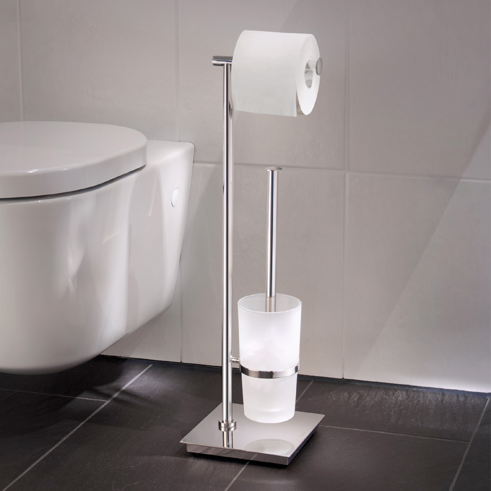 Smedbo Outline Lite Square Freestanding Toilet Brush and Roll Holder - FK603 profile large image view 2
