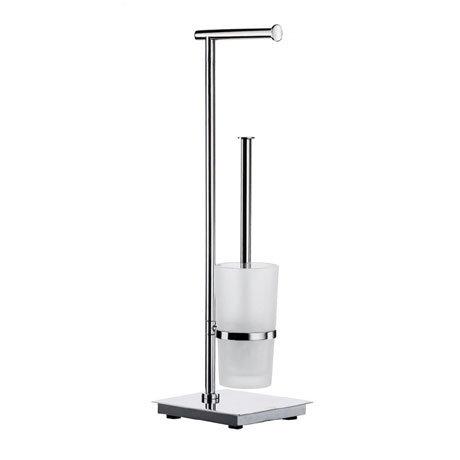 Smedbo Outline Lite Square Freestanding Toilet Brush and Roll Holder - FK603