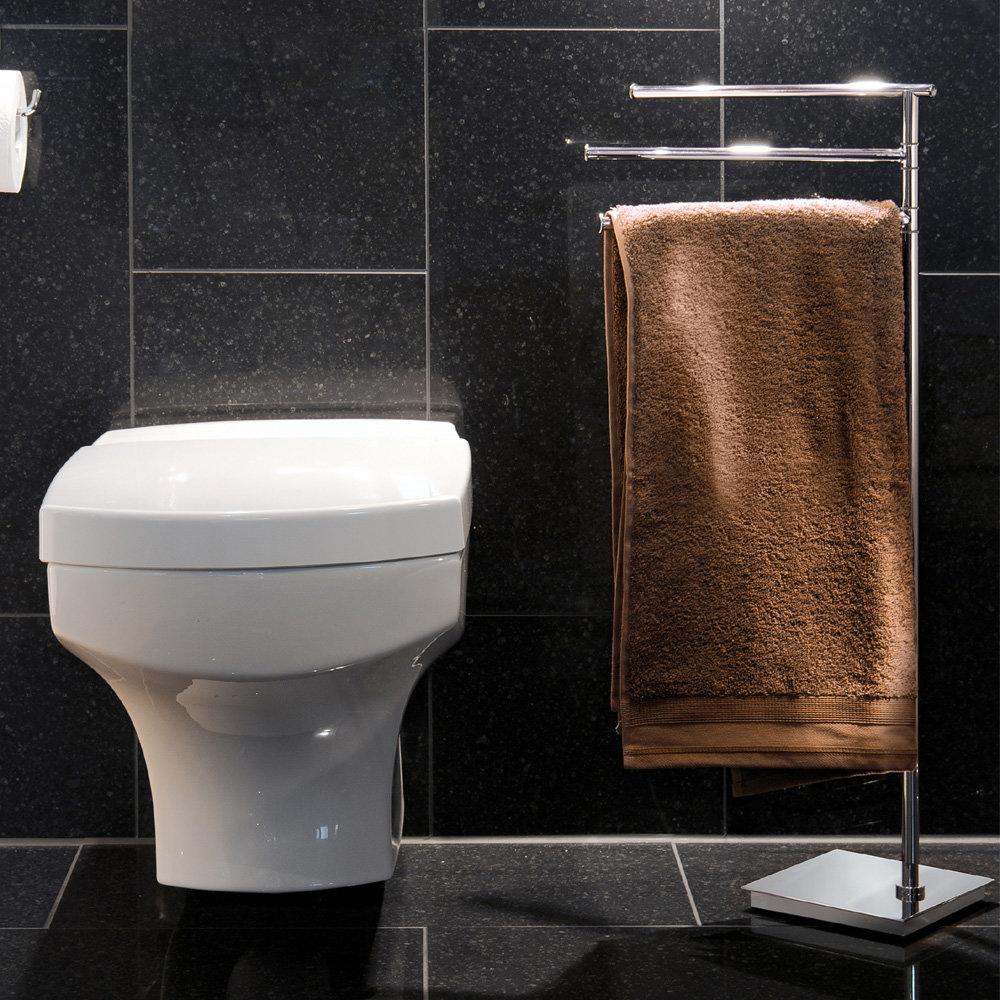 Smedbo Outline Lite Square Freestanding Triple Swing Arm Towel Rail - FK604 profile large image view 2