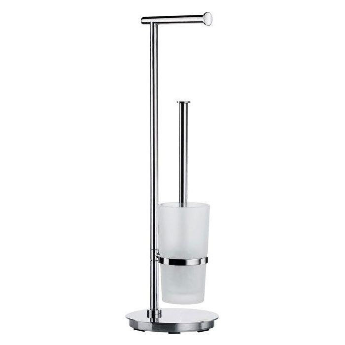 Smedbo Outline Lite Round Freestanding Toilet Brush and Roll Holder - FK607 Large Image