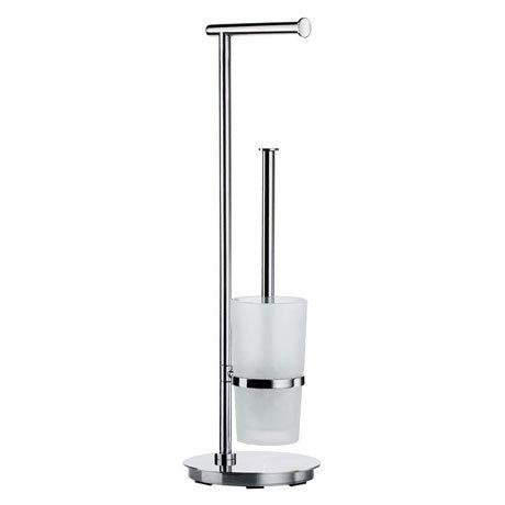 Smedbo Outline Lite Round Freestanding Toilet Brush and Roll Holder - FK607