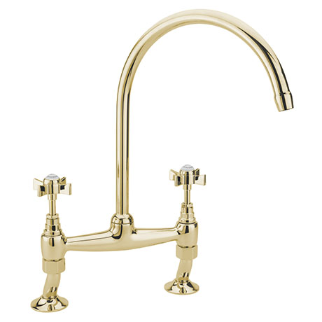 Tre Mercati Florence Antique Gold Dual Flow Bridge Pillar Kitchen Sink Mixer - FLORE-1089