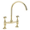 Tre Mercati Florence Antique Gold Dual Flow Bridge Pillar Kitchen Sink Mixer - FLORE-1089 profile small image view 1