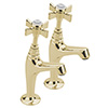 Tre Mercati Florence Antique Gold High Neck Kitchen Pillar Taps - FLORE-1099 profile small image view 1