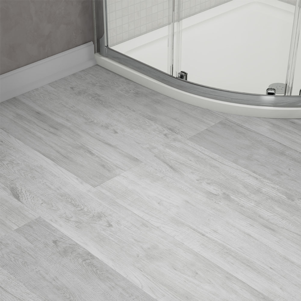 Harlow 181 x 1220mm Dove Grey Finish Vinyl Waterproof Plank Flooring - Close up image of grey bathroom vinyl flooring