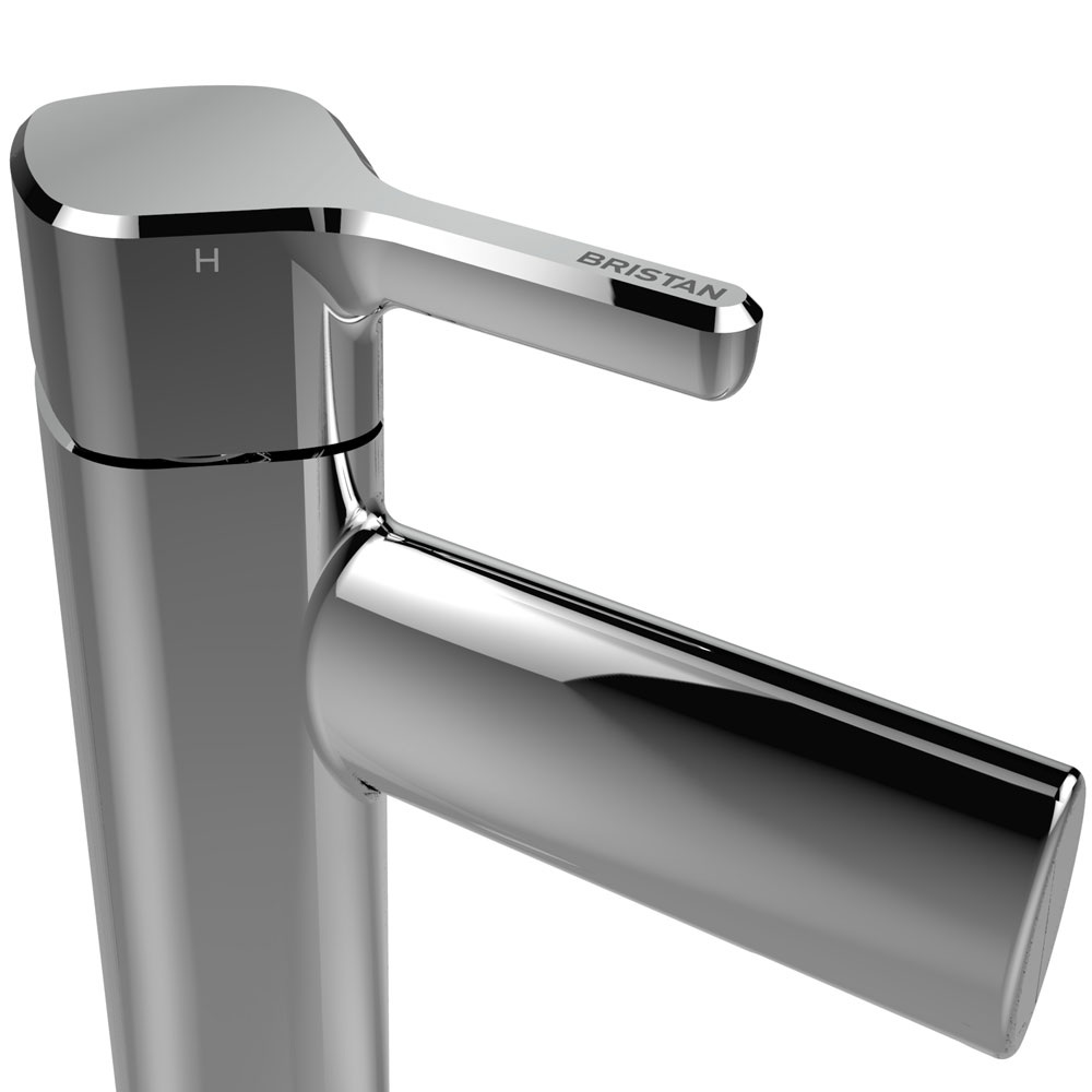 Bristan Flute Tall Mono Basin Mixer with Clicker Waste profile large image view 2
