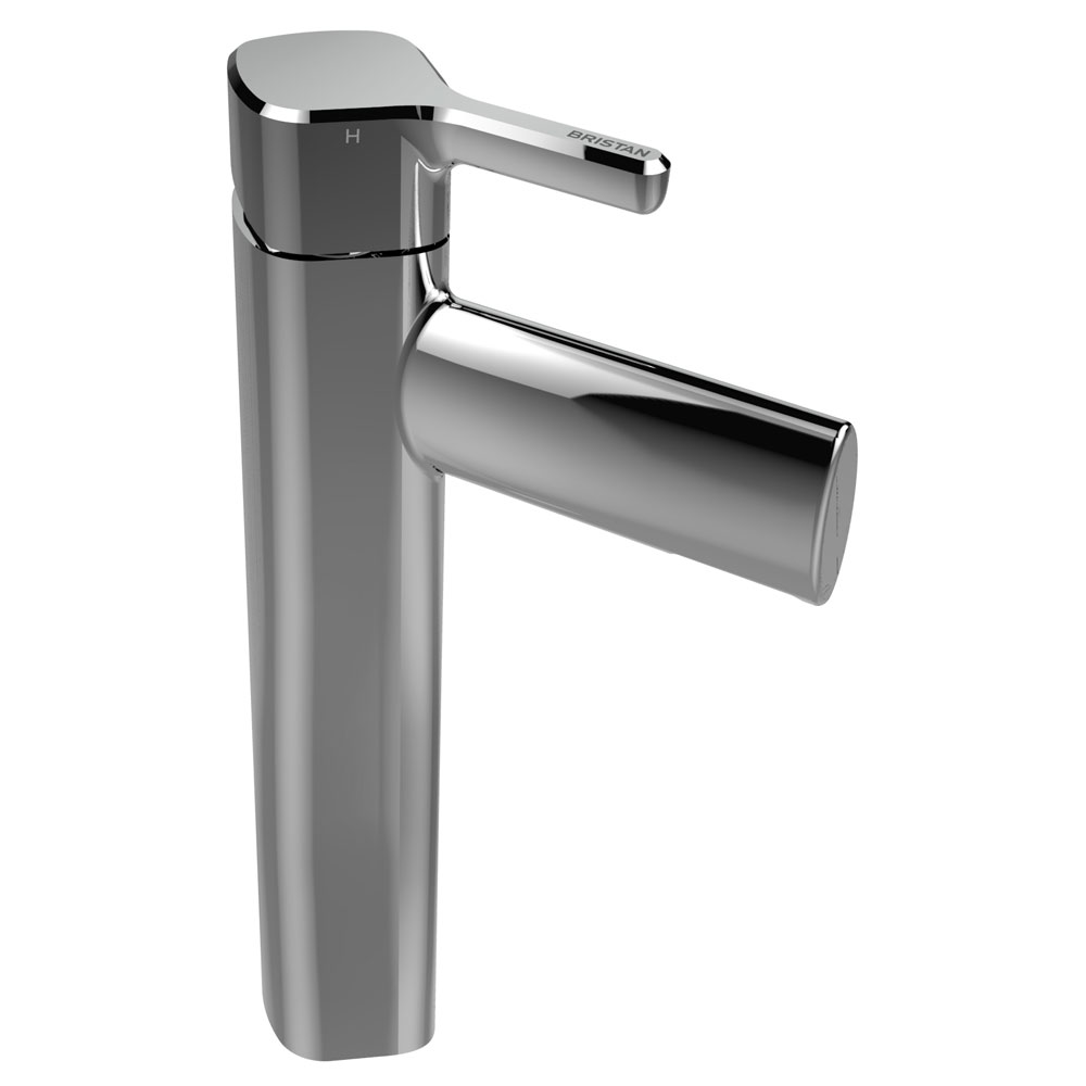 Bristan Flute Tall Mono Basin Mixer with Clicker Waste profile large image view 1