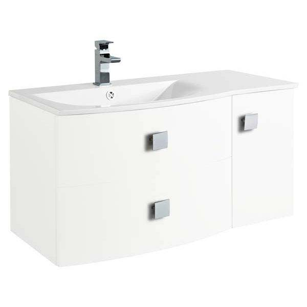 Hudson Reed Sarenna 1000mm Wall Hung Cabinet & Basin - White profile large image view 1