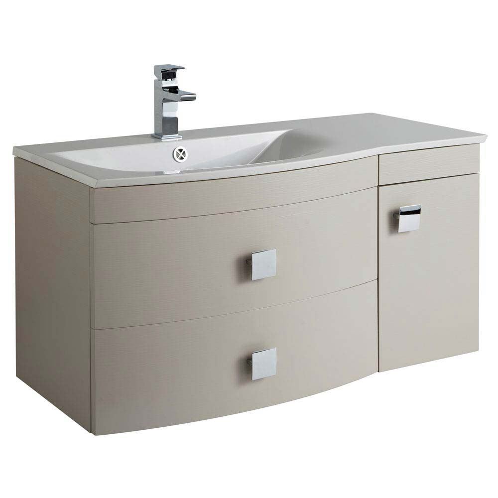 Hudson Reed Sarenna 1000mm Wall Hung Cabinet & Basin - Cashmere Large Image