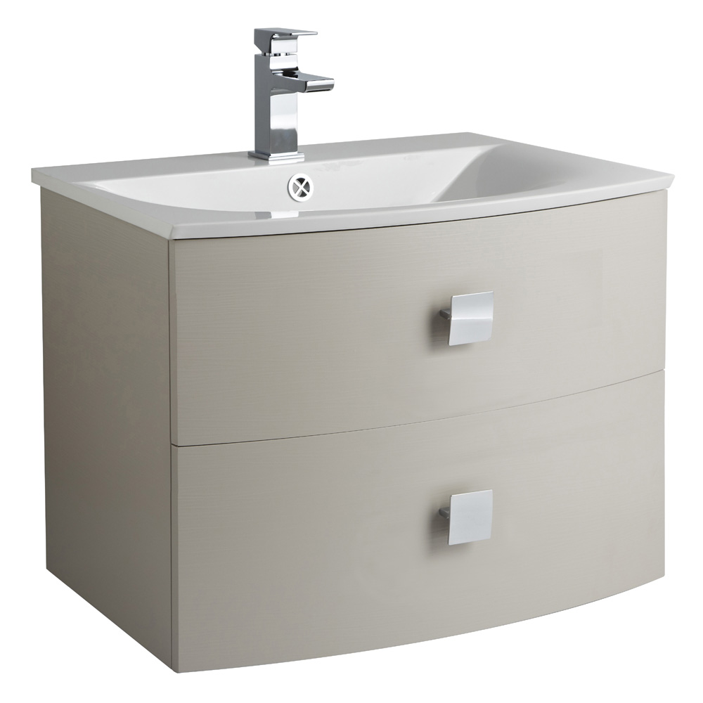 Hudson Reed Sarenna 700mm Wall Hung Cabinet & Basin - Cashmere profile large image view 1
