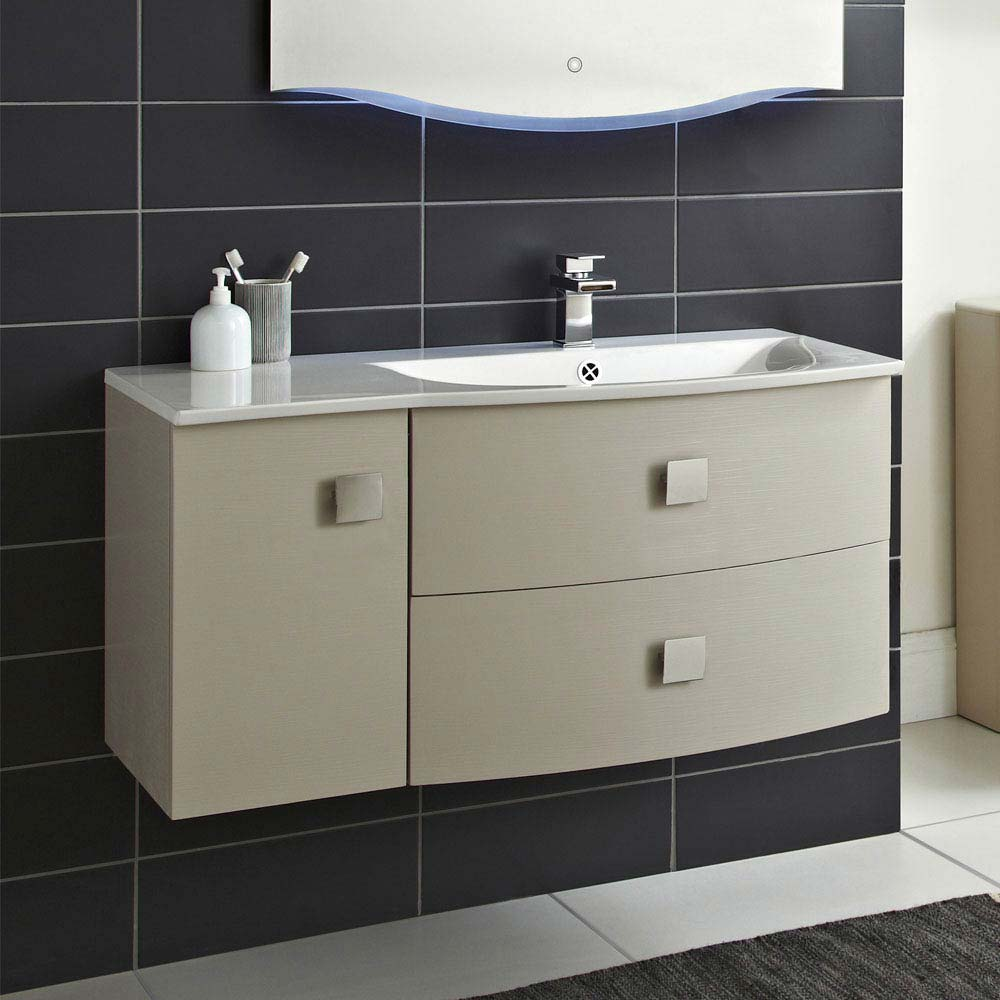 Hudson Reed Sarenna 1000mm Wall Hung Cabinet & Basin - Cashmere  Feature Large Image