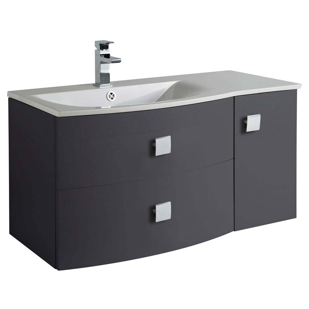 Hudson Reed Sarenna 1000mm Wall Hung Cabinet & Basin - Graphite profile large image view 1