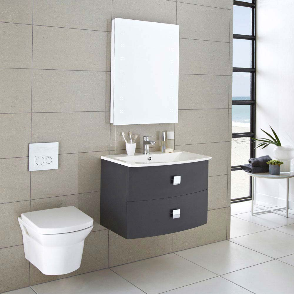 Hudson Reed Sarenna 700mm Wall Hung Cabinet & Basin - Graphite  Feature Large Image