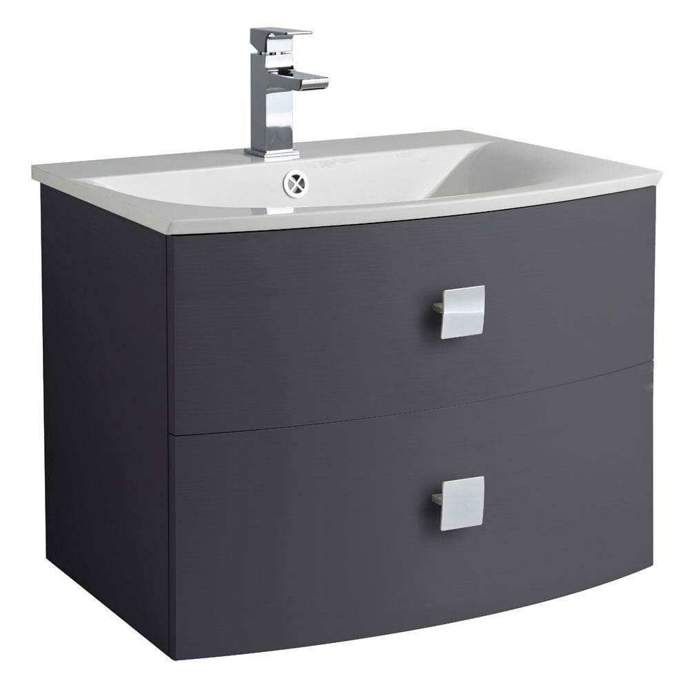 Hudson Reed Sarenna 700mm Wall Hung Cabinet & Basin - Graphite Large Image