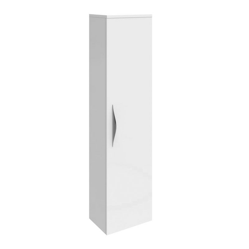 Hudson Reed Memoir 1 Door Wall Mounted Tall Unit - Gloss White - FME014 Large Image