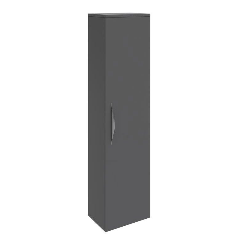 Hudson Reed Memoir 1 Door Wall Mounted Tall Unit - Gloss Grey - FME018 Large Image