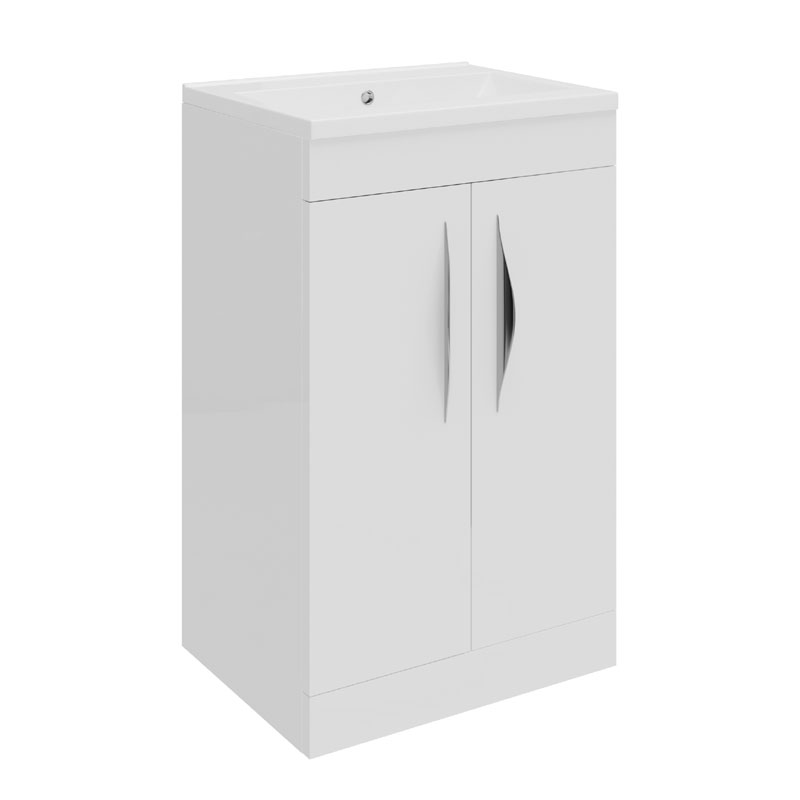 Hudson Reed Memoir Compact 500mm 2 Door Floor Mounted Basin & Cabinet - Gloss White - FME032 Large Image