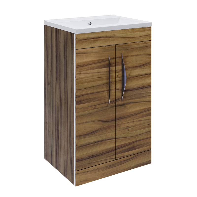 Hudson Reed Memoir Compact 500mm 2 Door Floor Mounted Basin & Cabinet - Gloss Walnut - FME034 Large Image