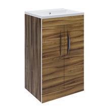 Hudson Reed Memoir Compact 500mm 2 Door Floor Mounted Basin & Cabinet - Gloss Walnut - FME034 Medium