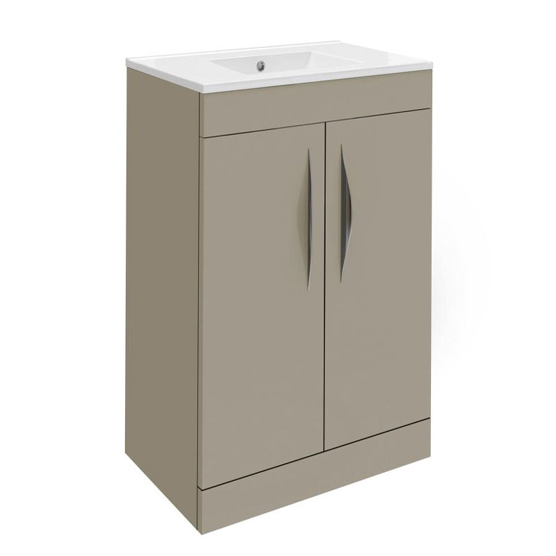 Hudson Reed Memoir Compact 500mm 2 Door Floor Mounted Basin & Cabinet - Gloss Cashmere - FME035 Large Image
