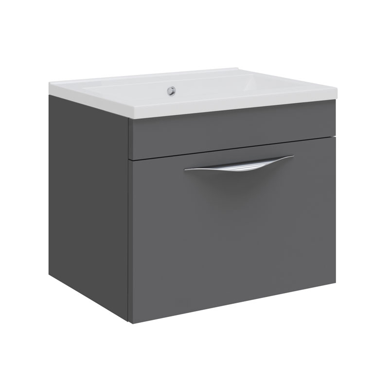 Hudson Reed Memoir Compact 500mm 1 Drawer Wall Mounted Basin & Cabinet - Gloss Grey - FME036 profile large image view 1