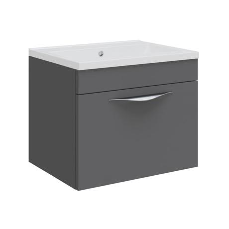 Hudson Reed Memoir Compact 500mm 1 Drawer Wall Mounted Basin & Cabinet - Gloss Grey - FME036