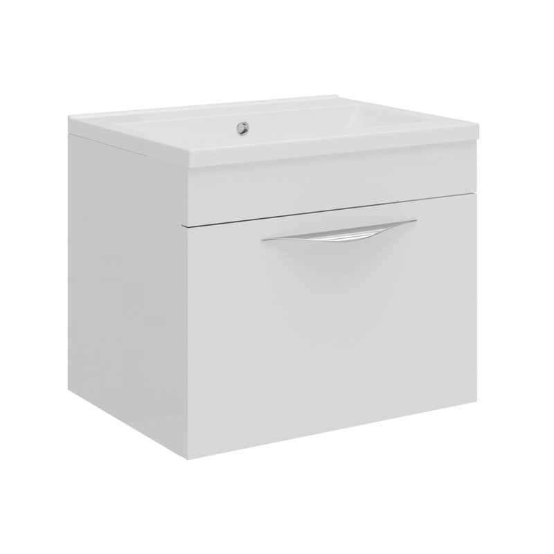 Hudson Reed Memoir Compact 500mm 1 Drawer Wall Mounted Basin & Cabinet - Gloss White - FME037 Large