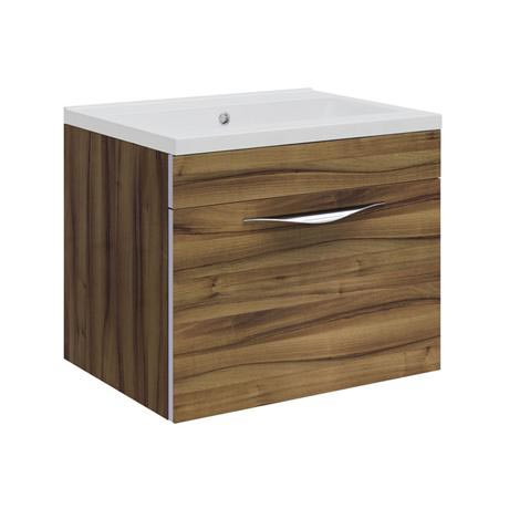 Hudson Reed Memoir Compact 500mm 1 Drawer Wall Mounted Basin & Cabinet - Gloss Walnut - FME039