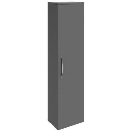 Hudson Reed Memoir 1 Door Wall Mounted Tall Unit - Gloss Grey - FME461