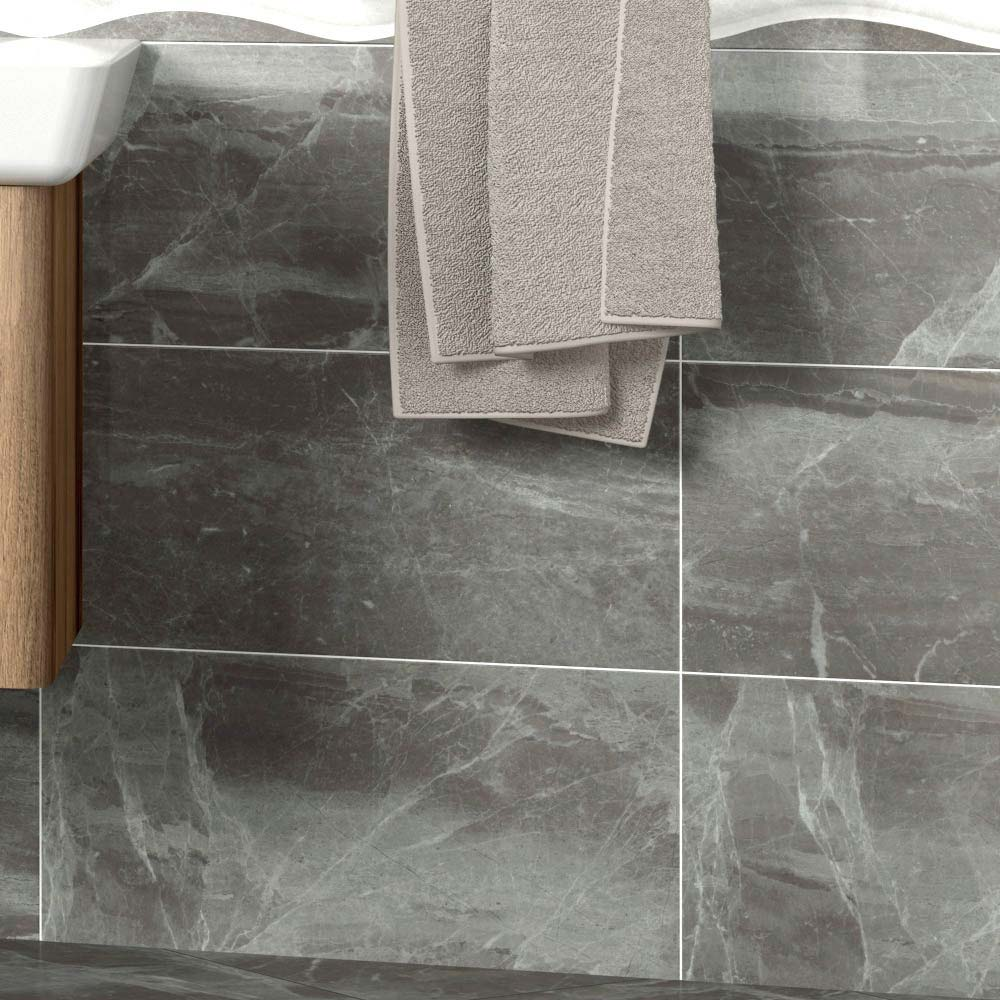 Gio Grey Gloss Marble Effect Wall Tiles - 30 x 60cm Large Image