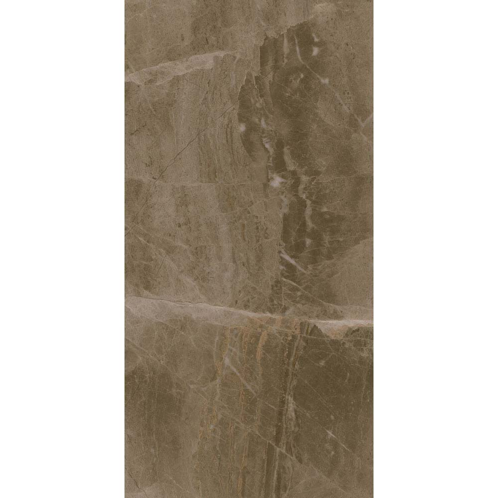 Gio Brown Gloss Marble Effect Wall Tiles - 30 x 60cm Large Image