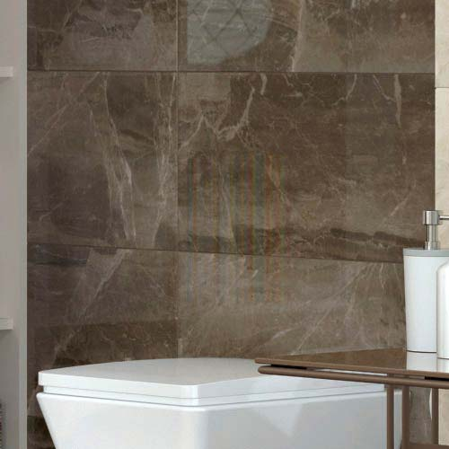 Gio Brown Gloss Marble Effect Wall Tiles 30 X 60cm