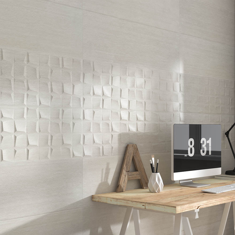 Forma Stone White Relief Wall Tiles - 300 x 900mm
