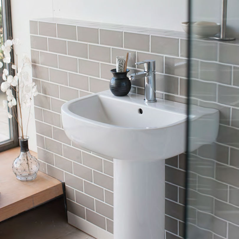 Britton Bathrooms - Compact Washbasin with Round Full Pedestal - 3 Size Options Profile Large Image