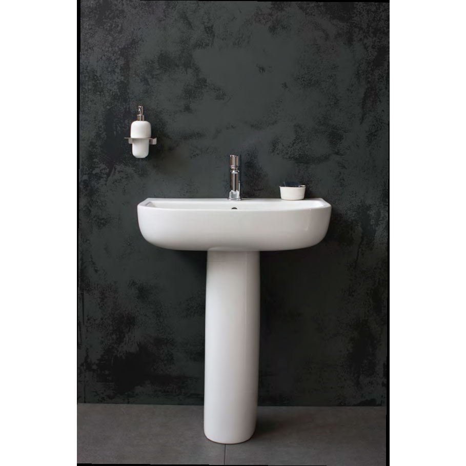 Britton Bathrooms - Compact Washbasin with Round Full Pedestal - 3 Size Options Feature Large Image