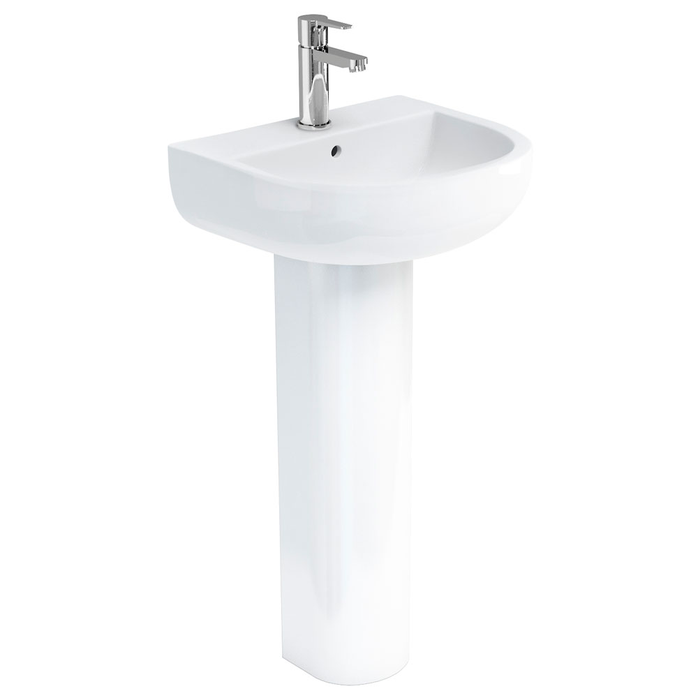 Britton Bathrooms - Compact Washbasin with Round Full Pedestal - 3 Size Options Large Image