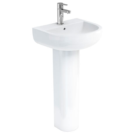 Britton Bathrooms - Compact Washbasin with Round Full Pedestal - 3 Size Options