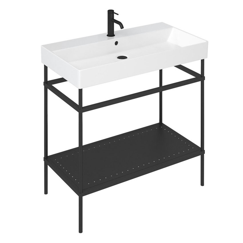 Britton Shoreditch Frame 850mm Basin & Black Wash Stand