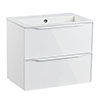 Roper Rhodes Frame 600mm Wall Mounted Vanity Unit & Isocast Basin - Gloss White profile small image view 1