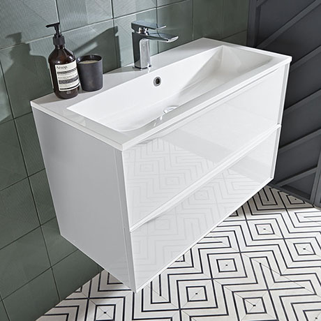 Roper Rhodes Frame 800mm Wall Mounted Vanity Unit & Isocast Basin - Gloss White