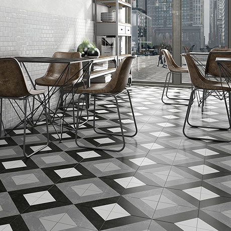 Formation Black & White Wall and Floor Tiles - 200 x 200mm
