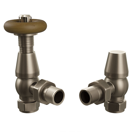 Fairport Angled Traditional Thermostatic Radiator Valves - Antique Brass