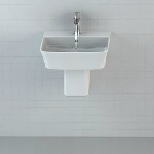 Britton Bathrooms - Fine S40 Washbasin with Round Semi Pedestal - 2 Size Options Profile Large Image