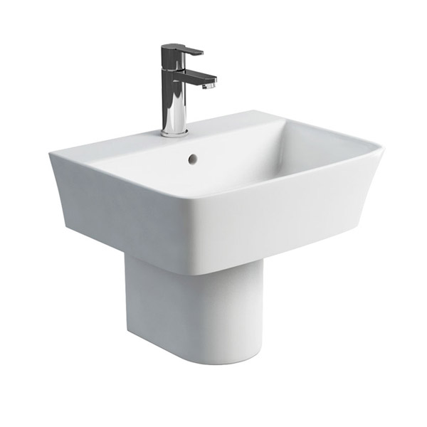 Britton Bathrooms - Fine S40 Washbasin with Round Semi Pedestal - 2 Size Options Large Image