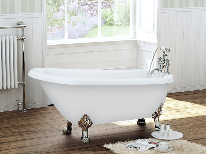 Newbury Traditional Back To Wall Roll Top Bath Suite At: 1680 X 720 Luxury Freestanding Slipper Bath With Chrome
