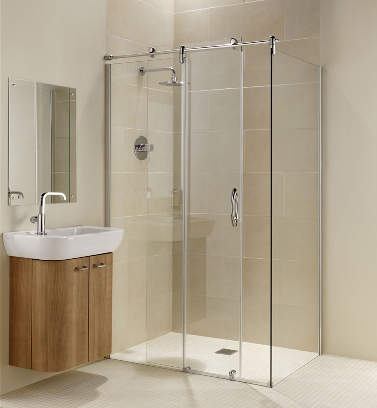 Coram - Frameless Premier Sliding Shower Door with Side Panel - Various Size Options Large Image