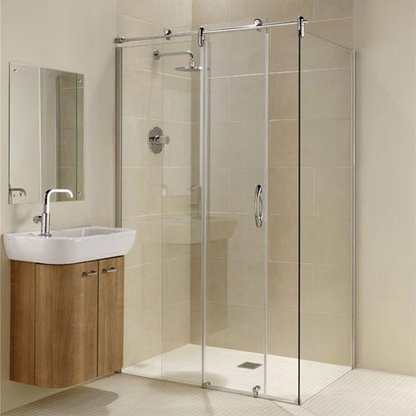 Coram - Frameless Premier Sliding Shower Door with Side Panel - Various Size Options
